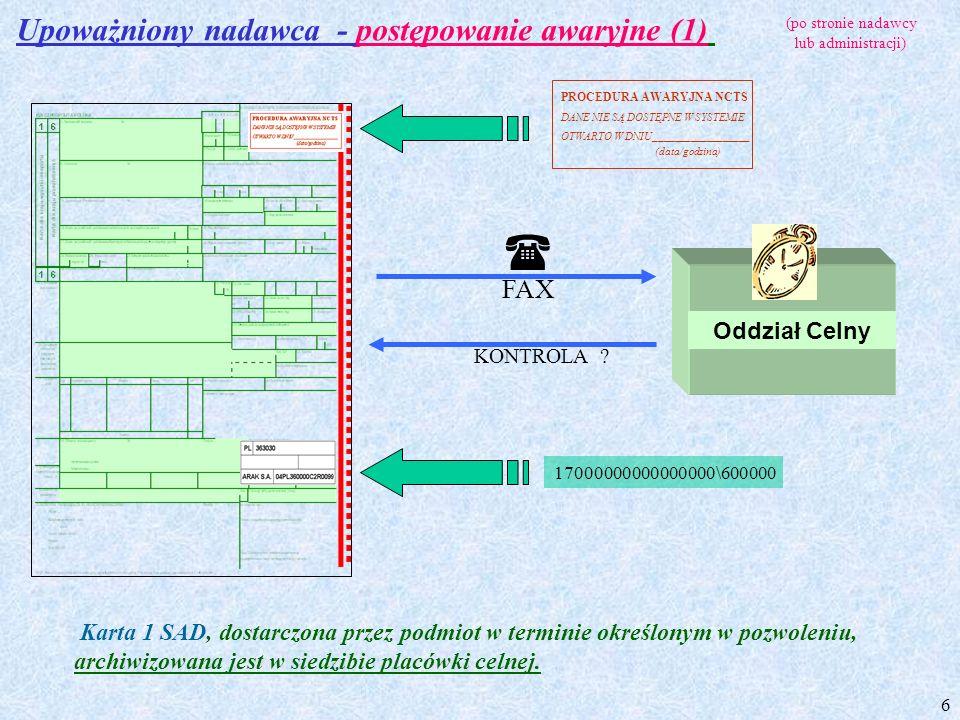 6 Upoważniony nadawca - postępowanie awaryjne (1) FAX Oddział Celny Karta 1 SAD, dostarczona przez podmiot w terminie określonym w pozwoleniu, archiwi