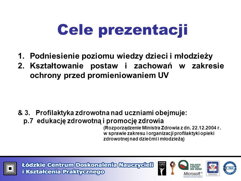 Cele prezentacji 1.Podniesienie poziomu wiedzy dzieci i młodzieży 2.Kształtowanie postaw i zachowań w zakresie ochrony przed promieniowaniem UV & 3. P