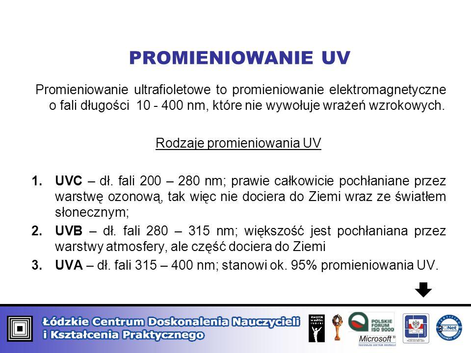 PROMIENIOWANIE UV Promieniowanie ultrafioletowe to promieniowanie elektromagnetyczne o fali długości 10 - 400 nm, które nie wywołuje wrażeń wzrokowych