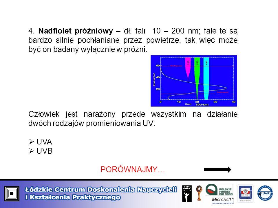 4. Nadfiolet próżniowy – dł. fali 10 – 200 nm; fale te są bardzo silnie pochłaniane przez powietrze, tak więc może być on badany wyłącznie w próżni. C