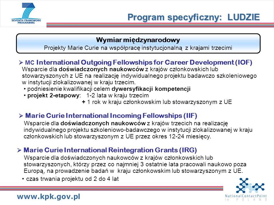 www.kpk.gov.pl Wymiar mi ę dzynarodowy Projekty Marie Curie na współpracę instytucjonalną z krajami trzecimi MC International Outgoing Fellowships for