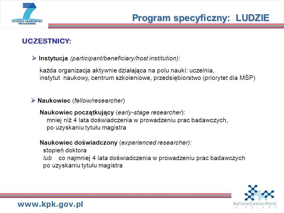 www.kpk.gov.pl UCZESTNICY: UCZESTNICY: Instytucja (participant/beneficiary/host institution): każda organizacja aktywnie działająca na polu nauki: ucz
