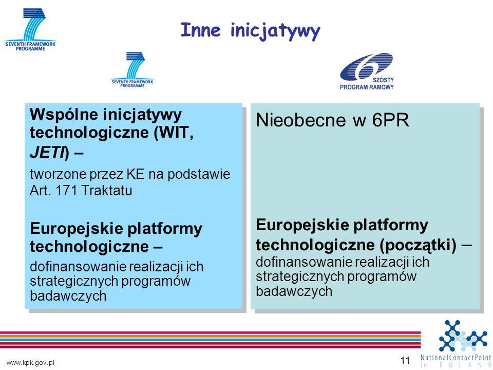 www.kpk.gov.pl 11 Wspólne inicjatywy technologiczne (WIT, JETI) – tworzone przez KE na podstawie Art.