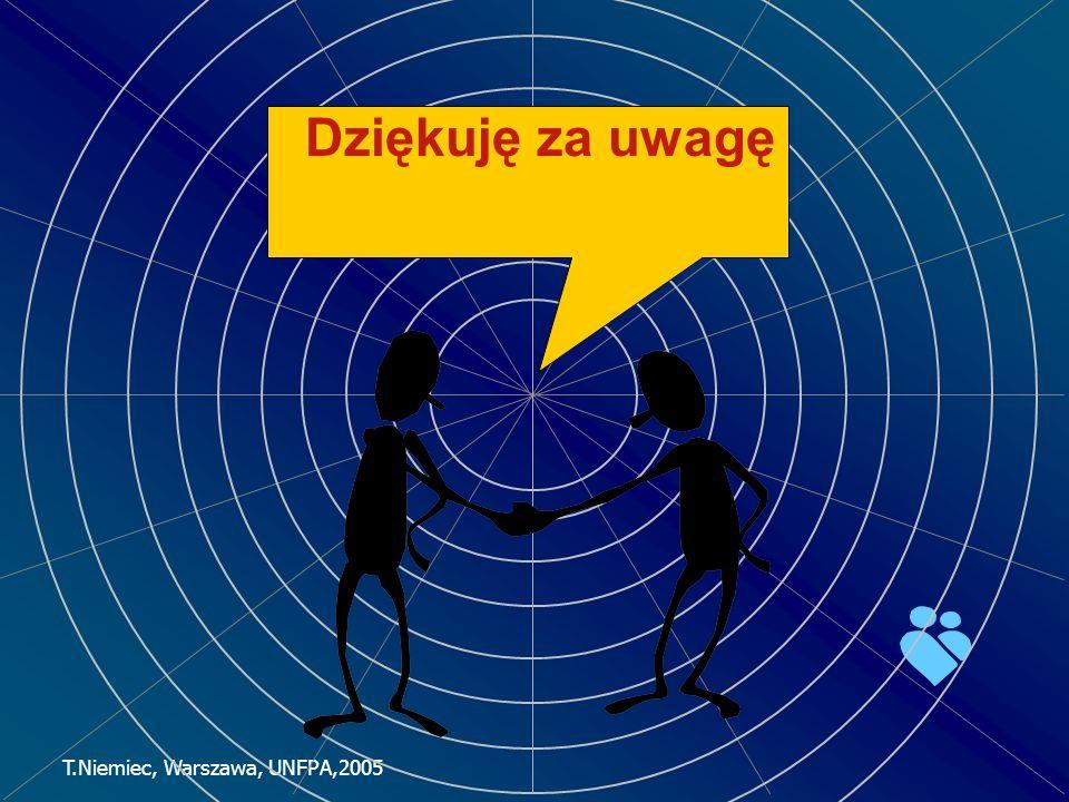 T.Niemiec, Warszawa, UNFPA,2005 Dziękuję za uwagę