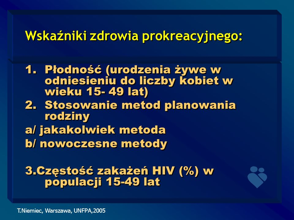 T.Niemiec, Warszawa, UNFPA,2005 Risk of vertical transmission Warsaw Study, 2004 *3 infected children received ZDV after delivery; no ARV for mother Since 1994 Children with prophylaxis Children without prophylaxis Total Children HIV- infected 63642 Children not infected 13142173 Total 13778215 Risk of vertical transmission 6/137 4 %* 36/78 46,15% 42/215 19,5%