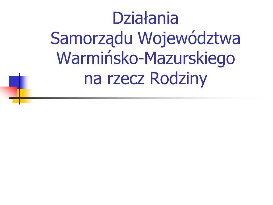 2 Główne problemy rodzin w Województwie Warmińsko-Mazurskim będące przyczyną obejmowania osób i rodzin świadczeniami z tytułu pomocy społecznej w 2003 roku: bezrobocie – 13,60 % ludności województwa (194.230 osób), co stanowi 136 osób/1000 mieszkańców województwa, ubóstwo - 10,43 % ludności województwa (148.909 osób), co stanowi 104 osoby/1000 mieszkańców województwa, Ubóstwo, jako samodzielna przesłanka udzielania świadczeń pomocy społecznej nie występuje.