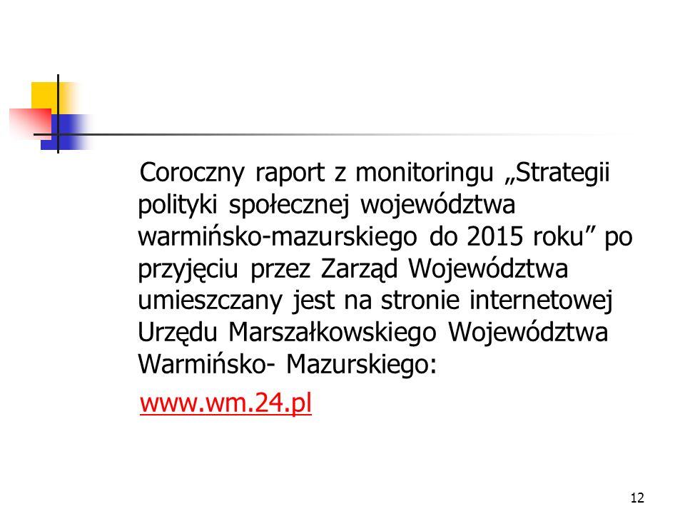 12 Coroczny raport z monitoringu Strategii polityki społecznej województwa warmińsko-mazurskiego do 2015 roku po przyjęciu przez Zarząd Województwa um