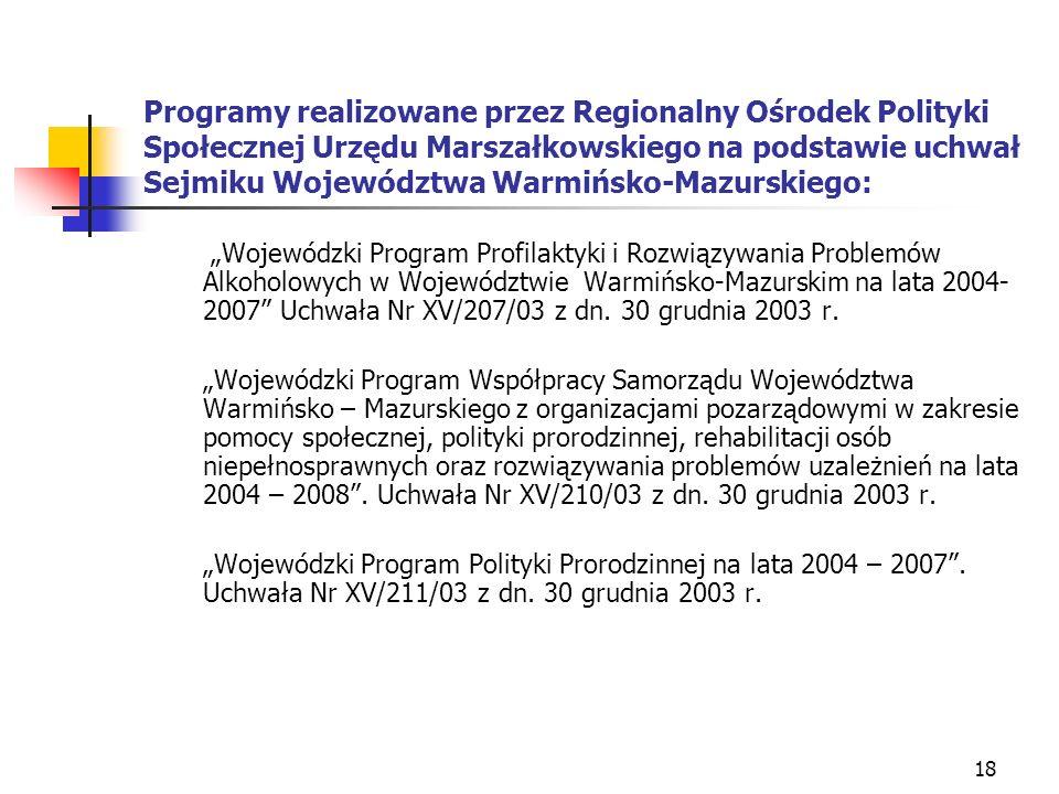 18 Programy realizowane przez Regionalny Ośrodek Polityki Społecznej Urzędu Marszałkowskiego na podstawie uchwał Sejmiku Województwa Warmińsko-Mazursk