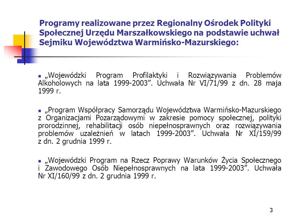4 Programy realizowane przez Regionalny Ośrodek Polityki Społecznej Urzędu Marszałkowskiego na podstawie uchwał Sejmiku Województwa Warmińsko-Mazurskiego: Wojewódzki Program Prorodzinnej Polityki Społecznej na lata 1999-2003.