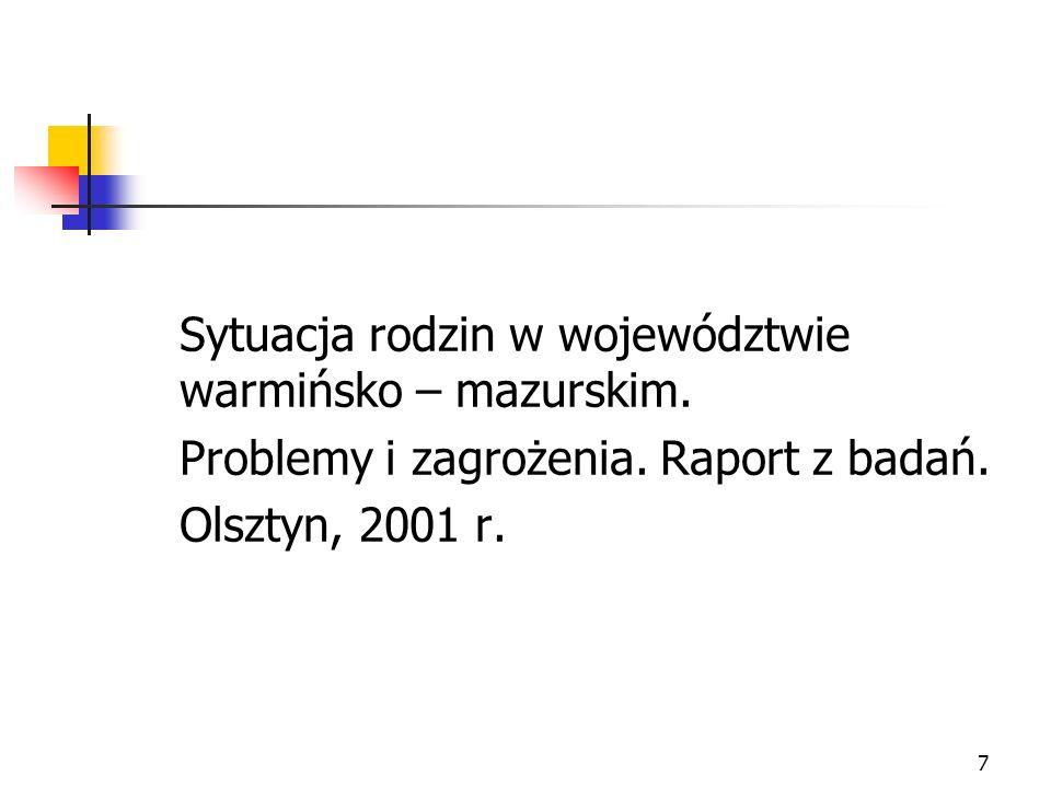 7 Sytuacja rodzin w województwie warmińsko – mazurskim. Problemy i zagrożenia. Raport z badań. Olsztyn, 2001 r.