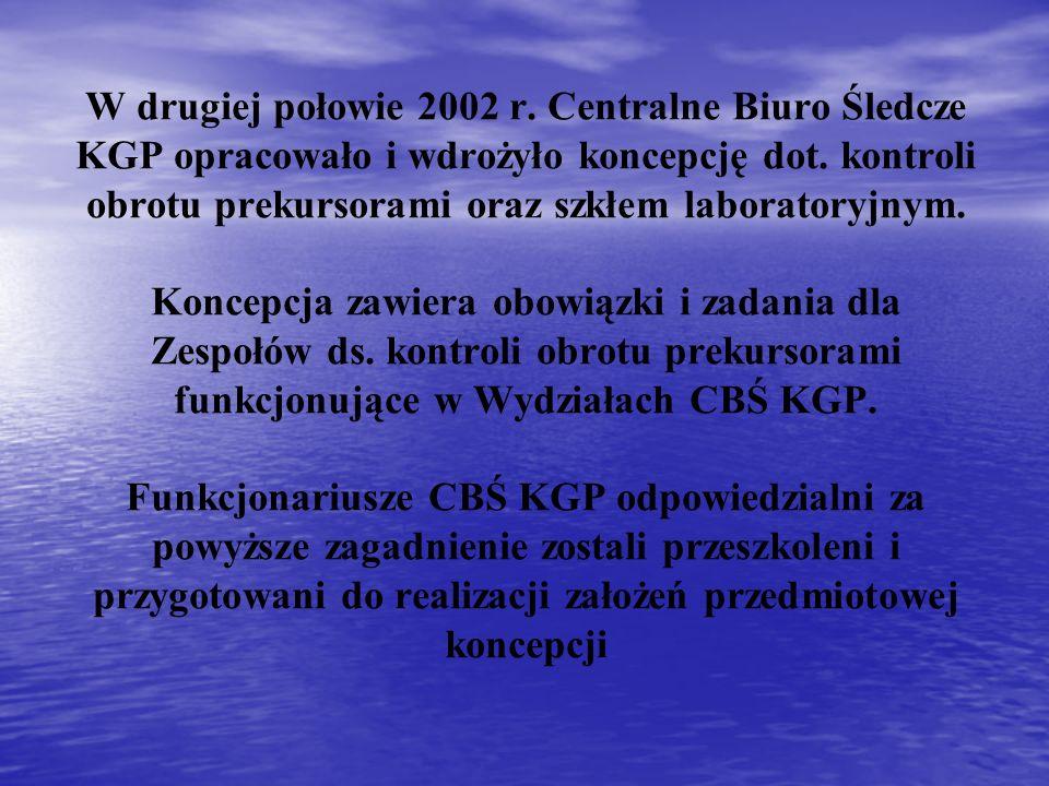 W drugiej połowie 2002 r. Centralne Biuro Śledcze KGP opracowało i wdrożyło koncepcję dot. kontroli obrotu prekursorami oraz szkłem laboratoryjnym. Ko