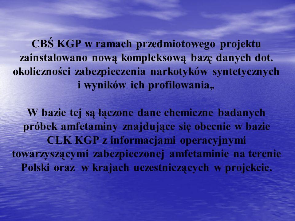 CBŚ KGP w ramach przedmiotowego projektu zainstalowano nową kompleksową bazę danych dot. okoliczności zabezpieczenia narkotyków syntetycznych i wynikó