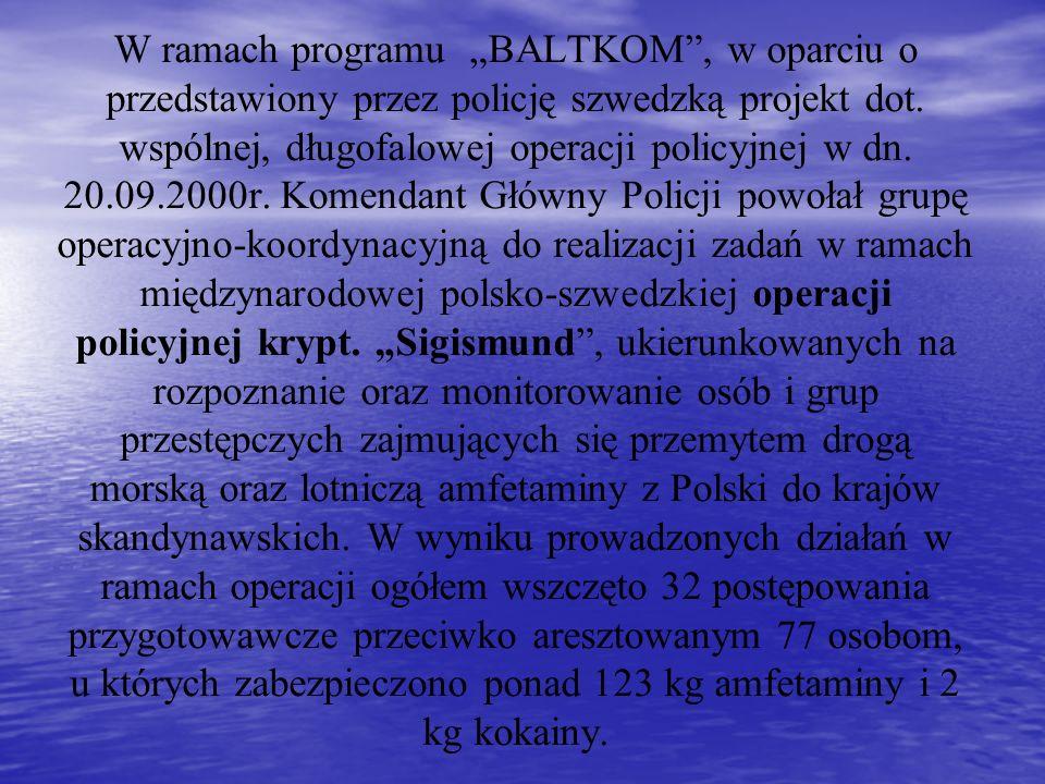 W ramach programu BALTKOM, w oparciu o przedstawiony przez policję szwedzką projekt dot. wspólnej, długofalowej operacji policyjnej w dn. 20.09.2000r.