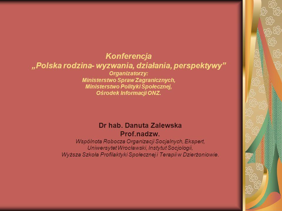1.Wiodące problemy współczesnej rodziny polskiej w diagnozie socjalnych organizacji pozarządowych.