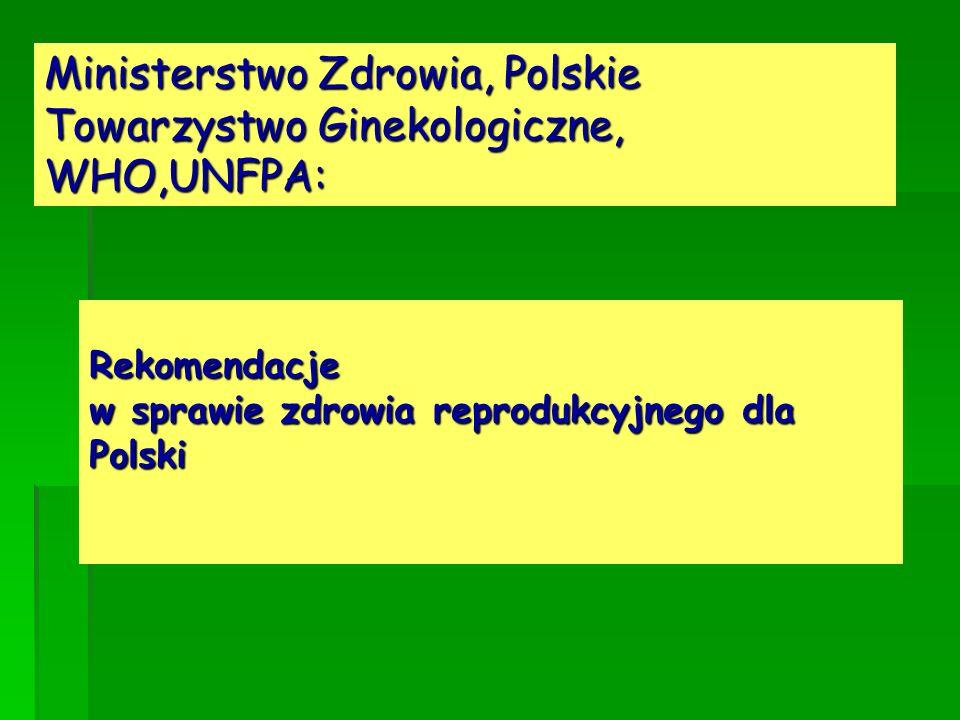 Rekomendacje w sprawie zdrowia reprodukcyjnego dla Polski Ministerstwo Zdrowia, Polskie Towarzystwo Ginekologiczne, WHO,UNFPA: