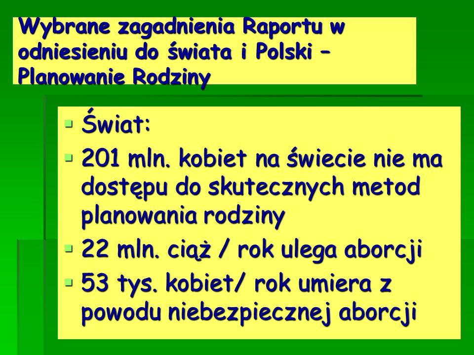 Wybrane zagadnienia Raportu w odniesieniu do świata i Polski – Planowanie Rodziny Świat: Świat: 201 mln. kobiet na świecie nie ma dostępu do skuteczny