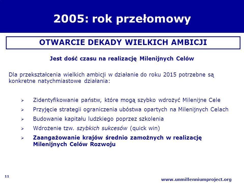11 www.unmillenniumproject.org 2005: rok przełomowy OTWARCIE DEKADY WIELKICH AMBICJI Jest dość czasu na realizację Milenijnych Celów Dla przekształcen