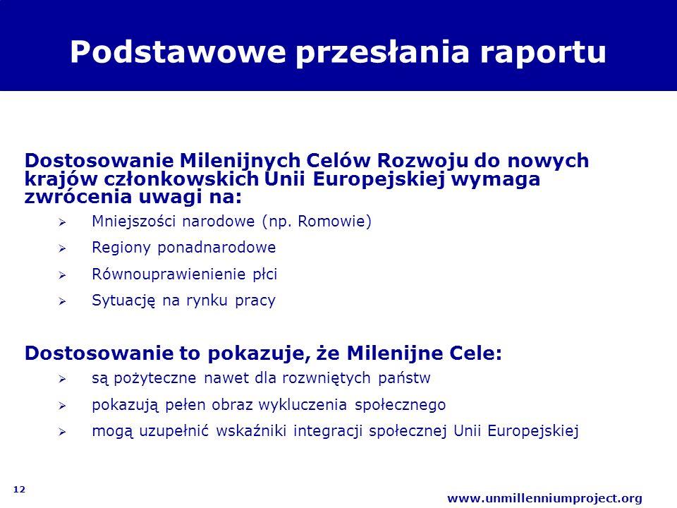 12 www.unmillenniumproject.org Podstawowe przesłania raportu Dostosowanie Milenijnych Celów Rozwoju do nowych krajów członkowskich Unii Europejskiej w