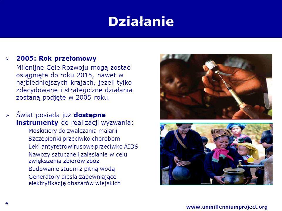 5 www.unmillenniumproject.org Milenijne Cele Rozwoju Cel 1:Wyeliminować skrajne ubóstwo i głód Cel 2: Zapewnić powszechne nauczanie na poziomie podstawowym Cel 3: Promować równość płci i awans społeczny kobiet Cel 4: Ograniczyć umieralność dzieci Cel 5: Poprawić opiekę zdrowotną nad matkami Cel 6: Ograniczyć rozprzestrzenianie HIV/AIDS, malarii i innych chorób zakaźnych Cel 7: Zapewnić ochronę środowiska naturalnego Cel 8: Stworzyć globalne partnerskie porozumienie na rzecz rozwoju Cele są najważniejszym na świecie wymiernym i określonym w czasie zobowiązaniem ograniczenia ubóstwa
