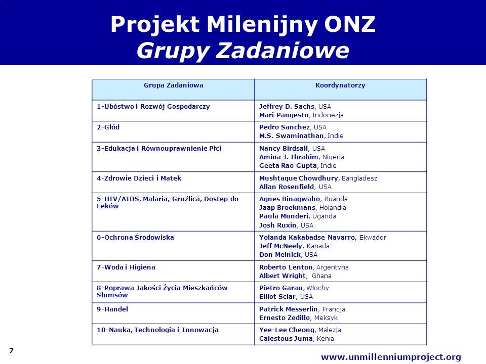 7 www.unmillenniumproject.org Projekt Milenijny ONZ Grupy Zadaniowe Grupa ZadaniowaKoordynatorzy 1-Ubóstwo i Rozwój GospodarczyJeffrey D. Sachs, USA M