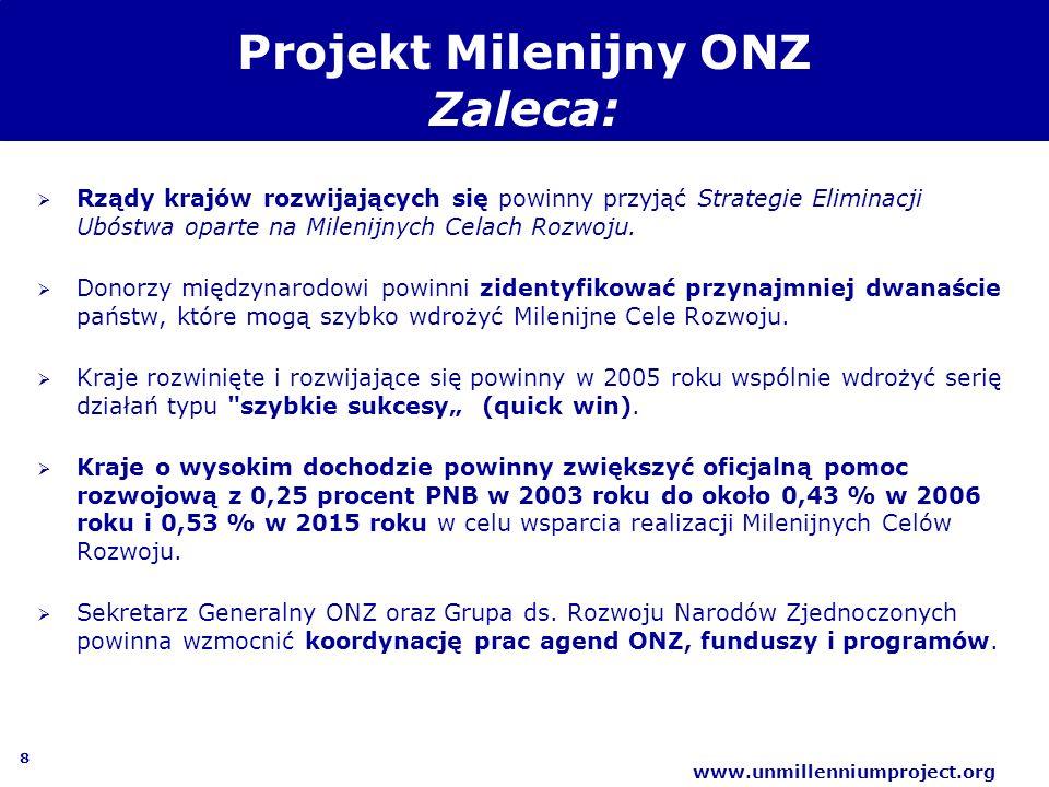 8 www.unmillenniumproject.org Projekt Milenijny ONZ Zaleca: Rządy krajów rozwijających się powinny przyjąć Strategie Eliminacji Ubóstwa oparte na Mile