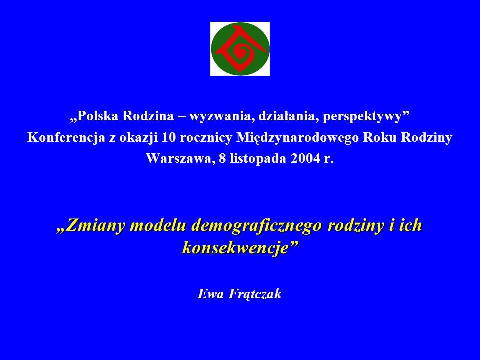 Polska Rodzina – wyzwania, działania, perspektywy Konferencja z okazji 10 rocznicy Międzynarodowego Roku Rodziny Warszawa, 8 listopada 2004 r. Zmiany