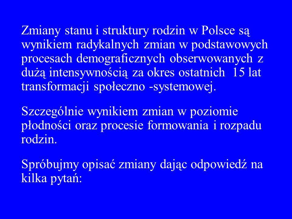 Zmiany stanu i struktury rodzin w Polsce są wynikiem radykalnych zmian w podstawowych procesach demograficznych obserwowanych z dużą intensywnością za