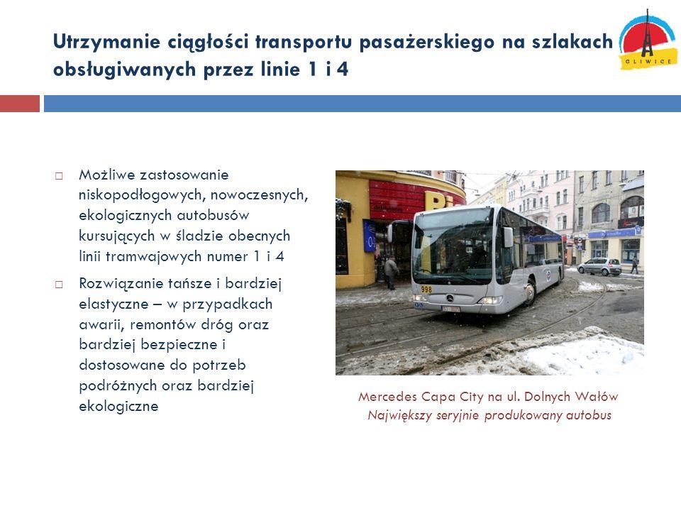 Utrzymanie ciągłości transportu pasażerskiego na szlakach obsługiwanych przez linie 1 i 4 Możliwe zastosowanie niskopodłogowych, nowoczesnych, ekologi