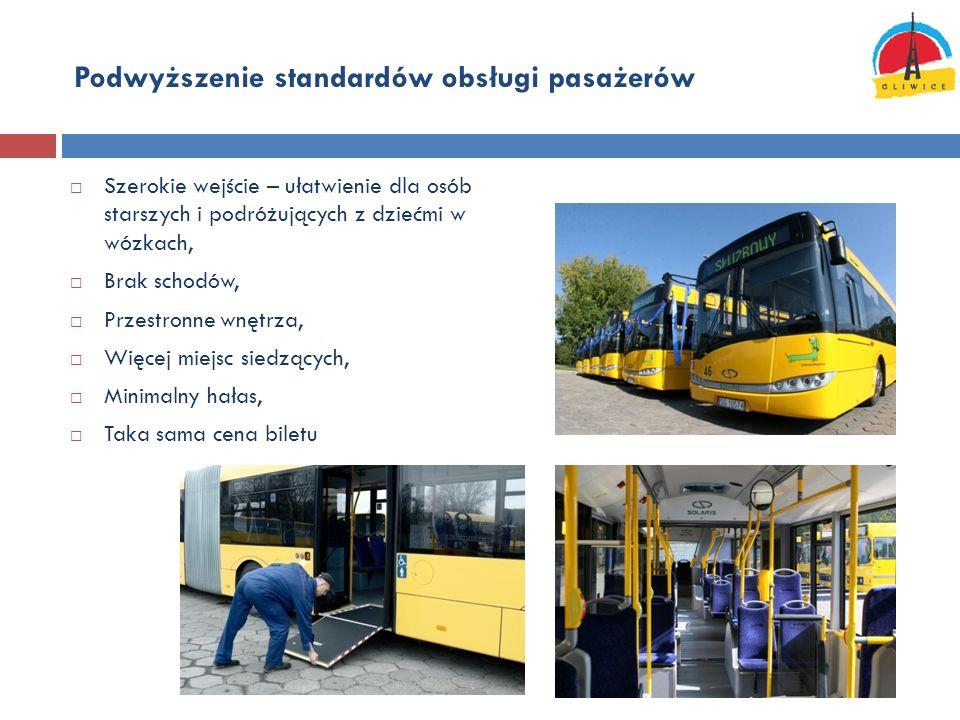 Podwyższenie standardów obsługi pasażerów Szerokie wejście – ułatwienie dla osób starszych i podróżujących z dziećmi w wózkach, Brak schodów, Przestro