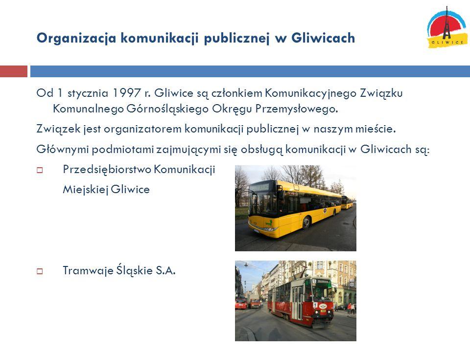 Organizacja komunikacji publicznej w Gliwicach Od 1 stycznia 1997 r. Gliwice są członkiem Komunikacyjnego Związku Komunalnego Górnośląskiego Okręgu Pr