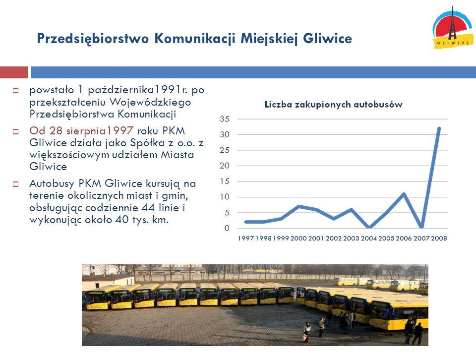Przedsiębiorstwo Komunikacji Miejskiej Gliwice powstało 1 października1991r. po przekształceniu Wojewódzkiego Przedsiębiorstwa Komunikacji Od 28 sierp