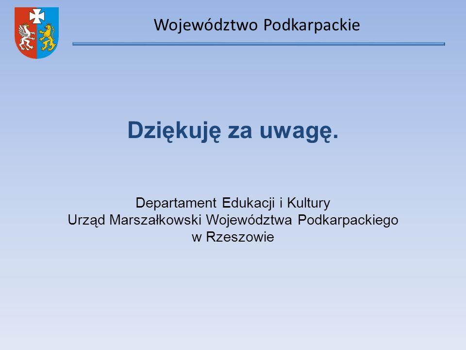 Województwo Podkarpackie Dziękuję za uwagę. Departament Edukacji i Kultury Urząd Marszałkowski Województwa Podkarpackiego w Rzeszowie