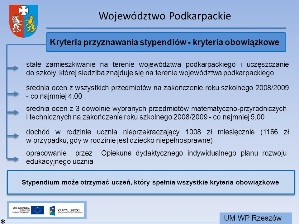 Województwo Podkarpackie UM WP Rzeszów Kryteria przyznawania stypendiów - kryteria obowiązkowe * stałe zamieszkiwanie na terenie województwa podkarpac
