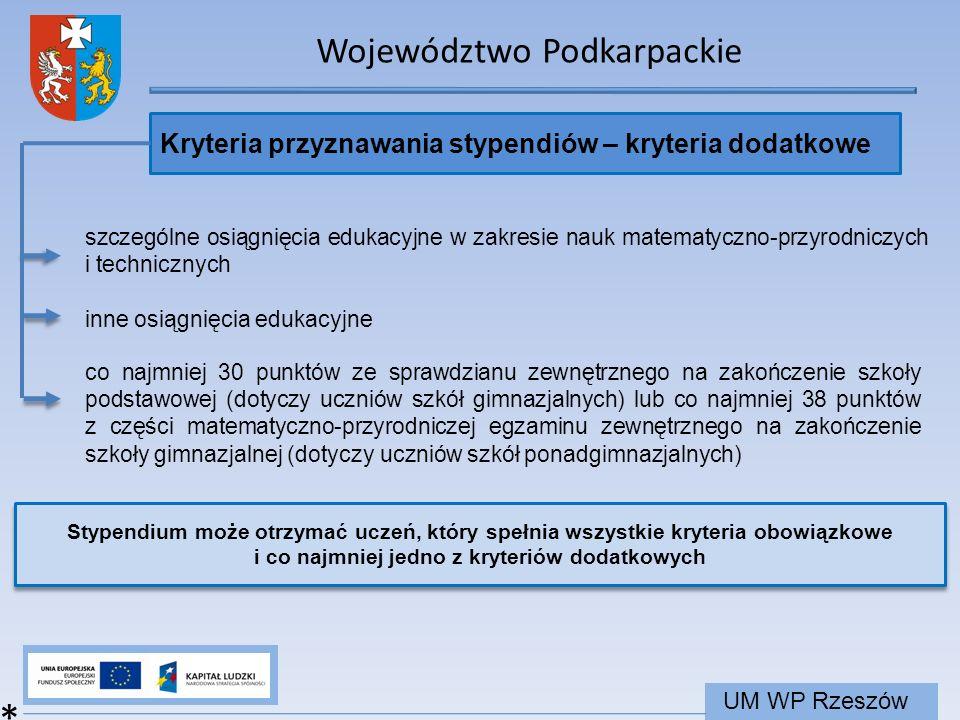 Województwo Podkarpackie UM WP Rzeszów Kryteria przyznawania stypendiów – kryteria dodatkowe * szczególne osiągnięcia edukacyjne w zakresie nauk matem
