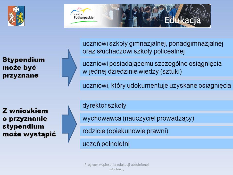 Program wspierania edukacji uzdolnionej młodzieży Stypendium może być przyznane uczniowi posiadającemu szczególne osiągnięcia w jednej dziedzinie wied