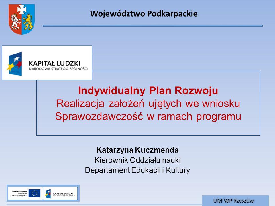 Województwo Podkarpackie UM WP Rzeszów Indywidualny Plan Rozwoju Realizacja założeń ujętych we wniosku Sprawozdawczość w ramach programu Katarzyna Kuc