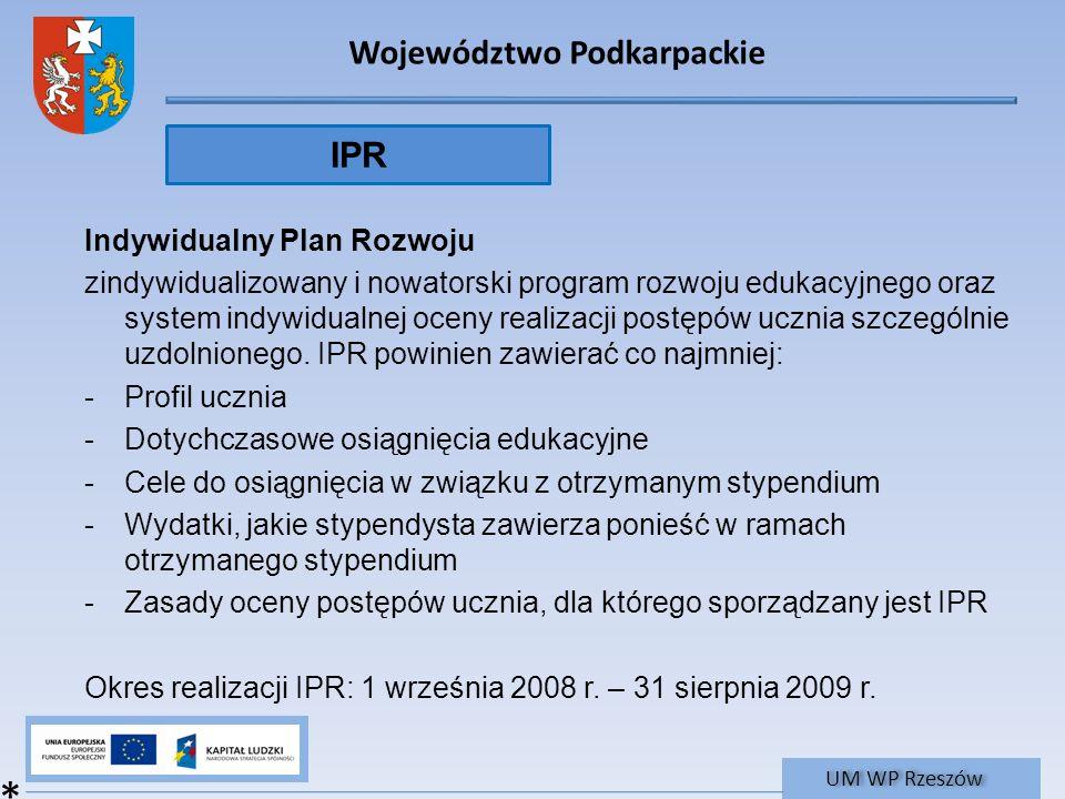 Województwo Podkarpackie UM WP Rzeszów Indywidualny Plan Rozwoju zindywidualizowany i nowatorski program rozwoju edukacyjnego oraz system indywidualne