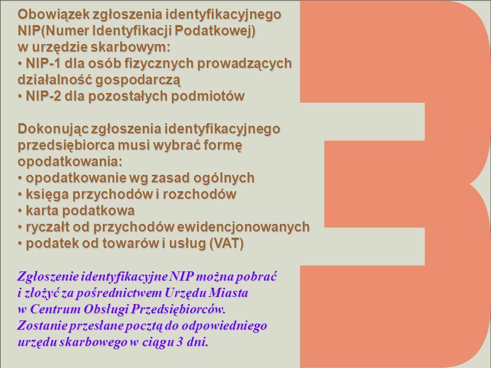 Obowiązek zgłoszenia identyfikacyjnego NIP(Numer Identyfikacji Podatkowej) w urzędzie skarbowym: NIP-1 dla osób fizycznych prowadzących działalność go