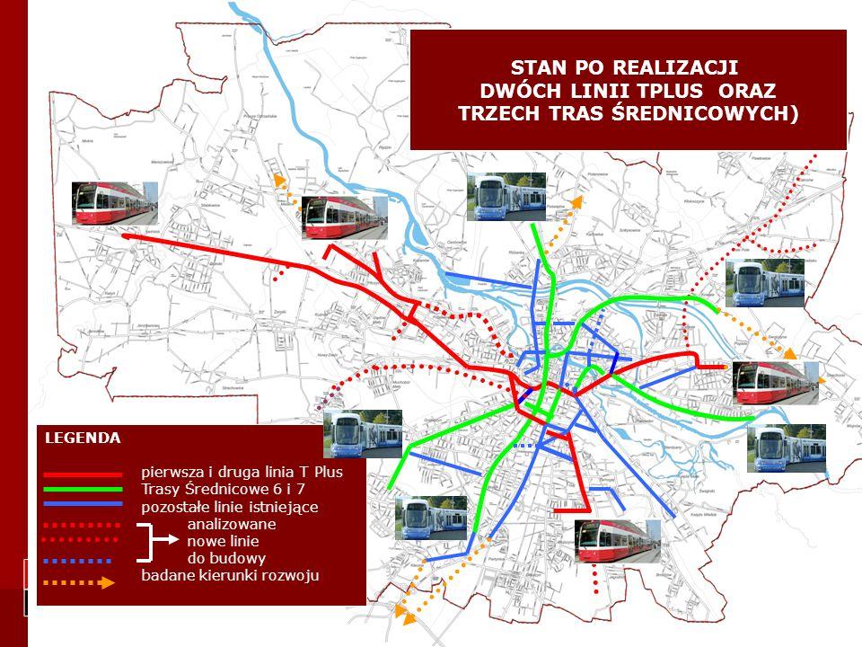 LEGENDA TPLUS 1 i TPLUS 2 Trasy Średnicowe 6, 7 i 4 Pozostałe linie Sygnalizacje z priorytetem Analizowane nowe linie do budowy Badane kierunki rozwoju Zintegrowane węzły przesiadkowe STAN PO REALIZACJI ETAPU I PROJEKTU