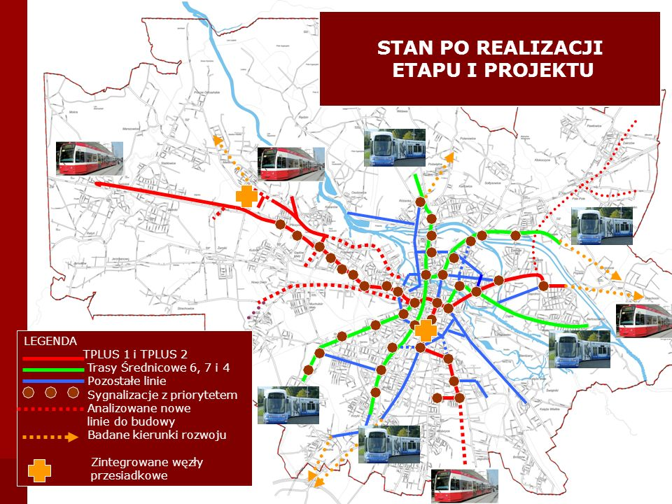 LEGENDA TPLUS 1 i TPLUS 2 Trasy Średnicowe 6, 7 i 4 Pozostałe linie Sygnalizacje z priorytetem Analizowane nowe linie do budowy Badane kierunki rozwoj