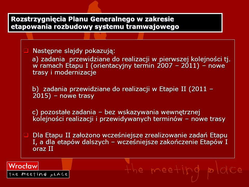 Rozstrzygnięcia Planu Generalnego w zakresie etapowania rozbudowy systemu tramwajowego Następne slajdy pokazują: Następne slajdy pokazują: a) zadania