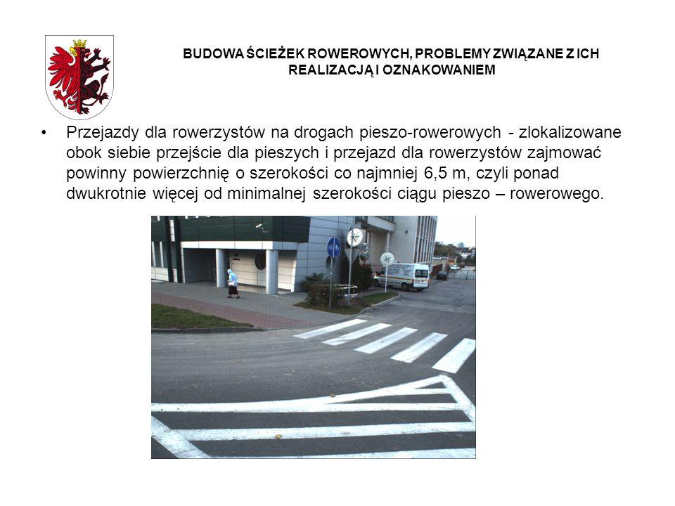 Przejazdy dla rowerzystów na drogach pieszo-rowerowych - zlokalizowane obok siebie przejście dla pieszych i przejazd dla rowerzystów zajmować powinny