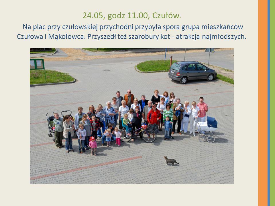 24.05, godz 11.00, Czułów. Na plac przy czułowskiej przychodni przybyła spora grupa mieszkańców Czułowa i Mąkołowca. Przyszedł też szarobury kot - atr
