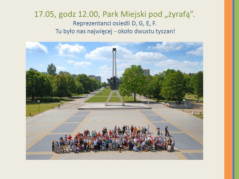17.05, godz 12.00, Park Miejski pod żyrafą. Reprezentanci osiedli D, G, E, F. Tu było nas najwięcej - około dwustu tyszan!