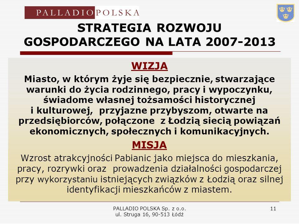 PALLADIO POLSKA Sp. z o.o. ul. Struga 16, 90-513 Łódź 11 STRATEGIA ROZWOJU GOSPODARCZEGO NA LATA 2007-2013 WIZJA Miasto, w którym żyje się bezpiecznie