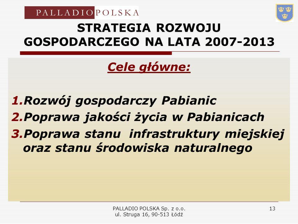PALLADIO POLSKA Sp. z o.o. ul. Struga 16, 90-513 Łódź 13 STRATEGIA ROZWOJU GOSPODARCZEGO NA LATA 2007-2013 Cele główne: 1.Rozwój gospodarczy Pabianic