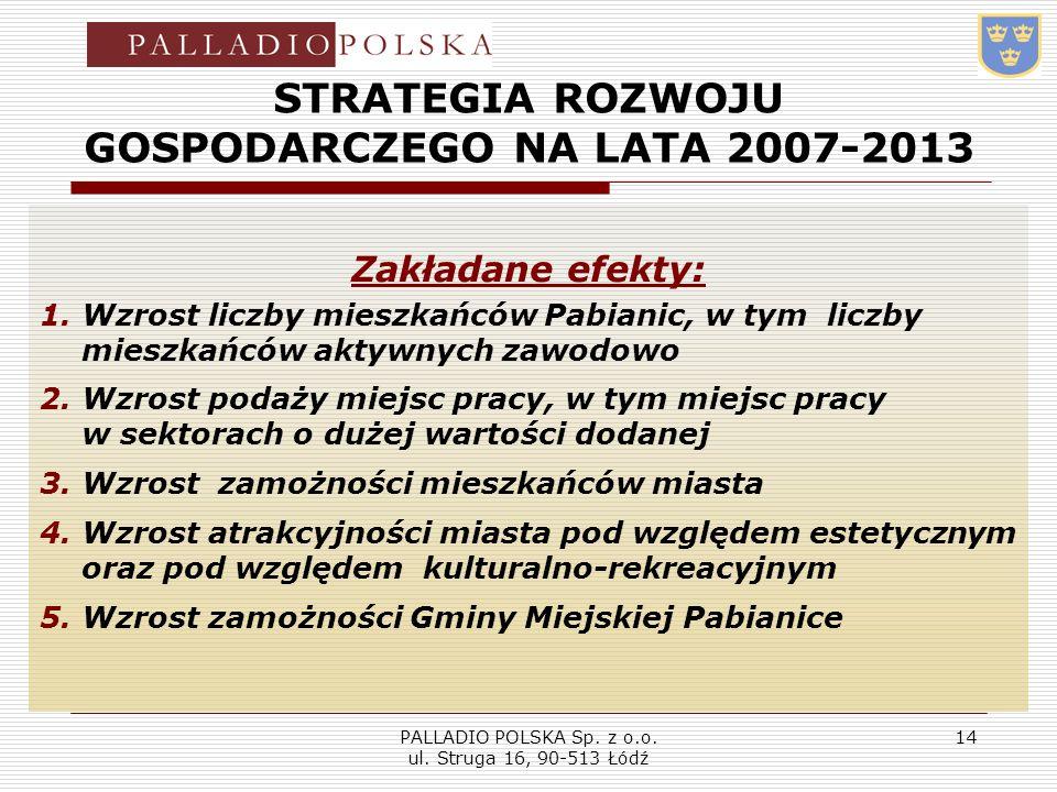 PALLADIO POLSKA Sp. z o.o. ul. Struga 16, 90-513 Łódź 14 STRATEGIA ROZWOJU GOSPODARCZEGO NA LATA 2007-2013 Zakładane efekty: 1.Wzrost liczby mieszkańc