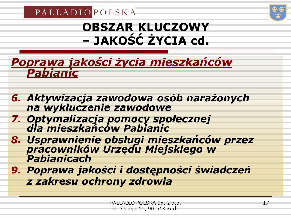 PALLADIO POLSKA Sp. z o.o. ul. Struga 16, 90-513 Łódź 17 OBSZAR KLUCZOWY – JAKOŚĆ ŻYCIA cd. Poprawa jakości życia mieszkańców Pabianic 6.Aktywizacja z