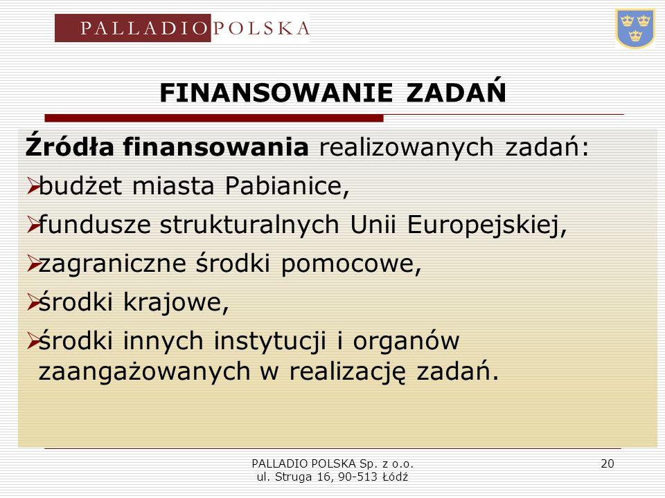 PALLADIO POLSKA Sp. z o.o. ul. Struga 16, 90-513 Łódź 20 FINANSOWANIE ZADAŃ Źródła finansowania realizowanych zadań: budżet miasta Pabianice, fundusze