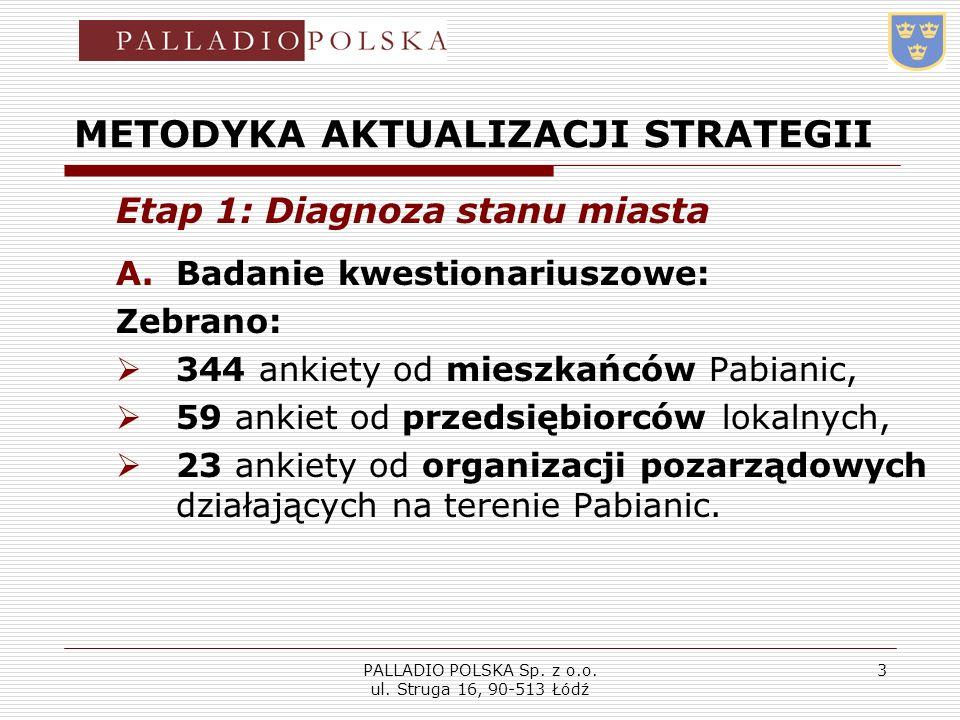 PALLADIO POLSKA Sp. z o.o. ul. Struga 16, 90-513 Łódź 3 METODYKA AKTUALIZACJI STRATEGII Etap 1: Diagnoza stanu miasta A.Badanie kwestionariuszowe: Zeb